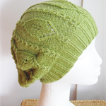 Hand-Knit, Adult, Wool, Lace Slouchie Beanie Hat, Green