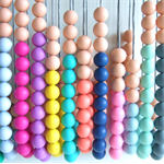 Silicone teething necklace BPA FREE Geometric bead necklace multi colours.
