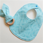 Turquoise blue rabbit baby bib and teether teething ring gift set