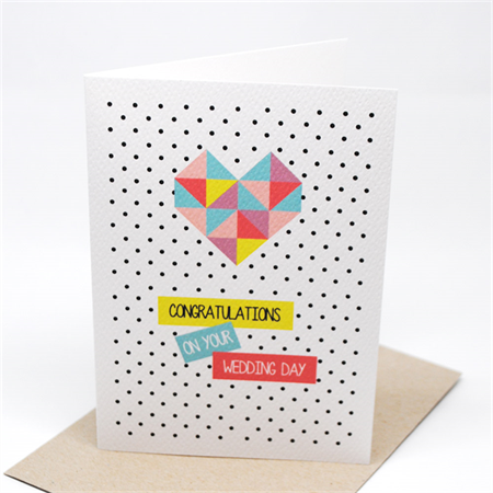 Wedding Card - Geometric Bright Heart - WED042