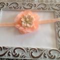 Peach  Flower Headband. Made to size