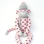 'Bonnie' the Sock Monkey - pink, grey and black - *READY TO POST*
