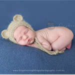 Baby Bear Bonnet  / Newborn Photography / Natural / Cheeky Monkey Hat