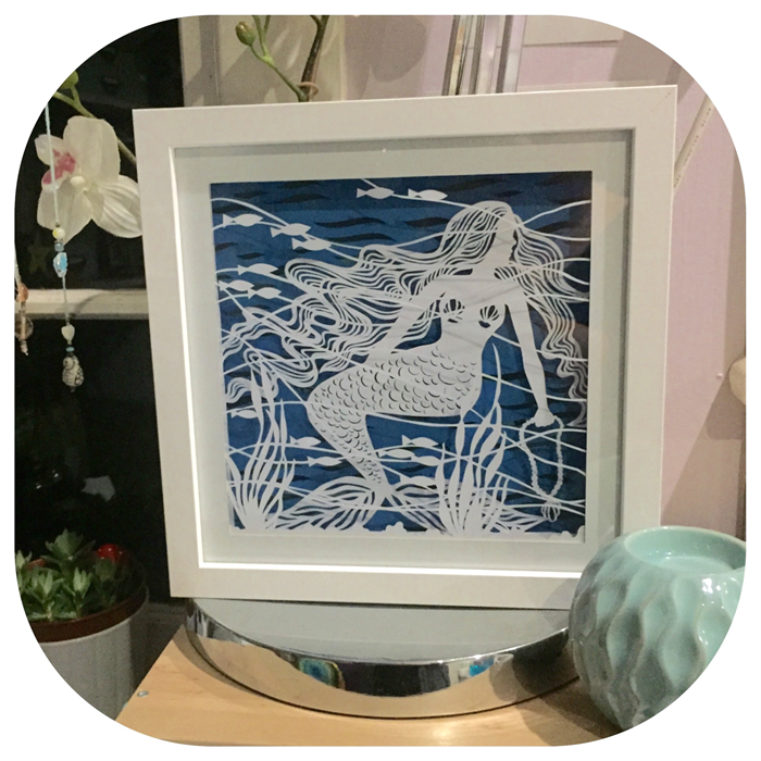 Mermaid Dream Illuminated Shadow Box Paper Cut Art Kitty K