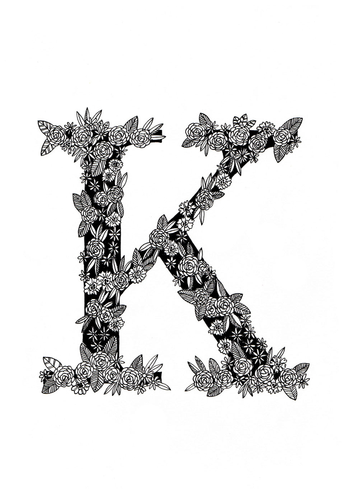 Black And White Floral Letter K A4 Print Katherine Kate Katie