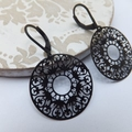 Black Lace Ring Earrings
