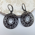 Black Lace Ring Earrings