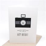 Birthday Card Male - Black Polkadot Camera - Say Cheese - HBM060
