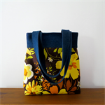 Retro Tote Bag - Vintage Fabric and Upcycled Denim