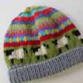 "Grey""Sheep"" Beanie - to fit approx 6-12 months - hand knitted"
