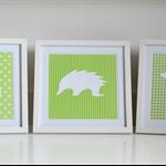 Set Of 3 Unisex Green & White Australian Native Animals Silhouette Frames