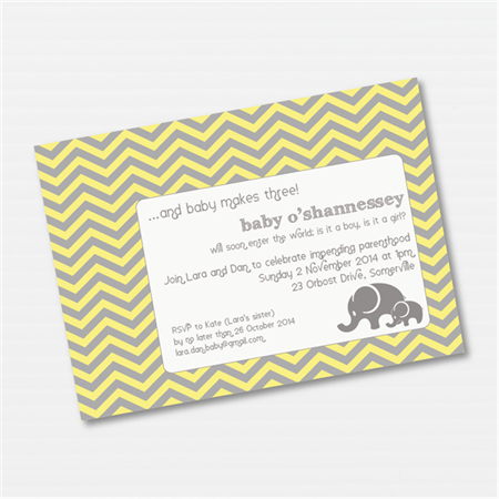 Elephant Chevron Baby Shower Custom Printable Invitation