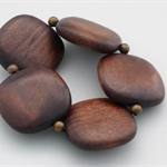 Square dark wood bead and brass bead stretch bracelet