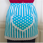 Half Apron Spots & Stripes white & aqua - women's lined apron with heart pocket