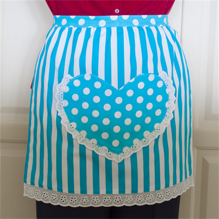 Half Apron Spots & Stripes white & aqua - women's lined apron with heart pocket