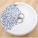 Blue floral ceramic ring dish, ring bowl, ring holder. porcelain bowl.