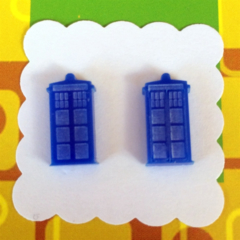 Doctor Who Tardis Laser Cut Earrings - acrylic, perspex, retro, sci fi, blue