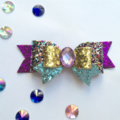 Multi colour Glitter Hair Bow , Birthday Bow