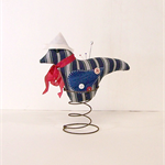 BLUE BIRD in Rusty Spring, Sailor, Navy Blue and White Stripe, Pincushion