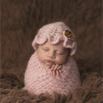 Newborn Ruffle Hat / Mohair and Silk Hat / Newborn Photography Props/ Blush Pink