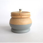 Wooden geometric dipped ring box with lid Grey. Great Bridesmaid gifts!
