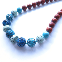 Sunday multi colour beaded casual chunky necklace, lime, blue green