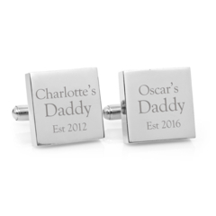 Engraved personalised silver cufflinks - My Daddy - Christmas Gift for Dad