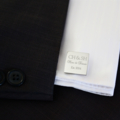 Now & Forever - Engraved personalised square silver cufflinks - Gift for him