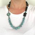 Enamel pale green + wood statement necklace