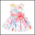 Baby Girls Toddler Dress Blue Pink Vintage Fairy print sizes 3 months to 6 years