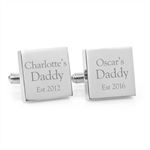 Engraved personalised square silver cufflinks - My Daddy - Christmas Gift