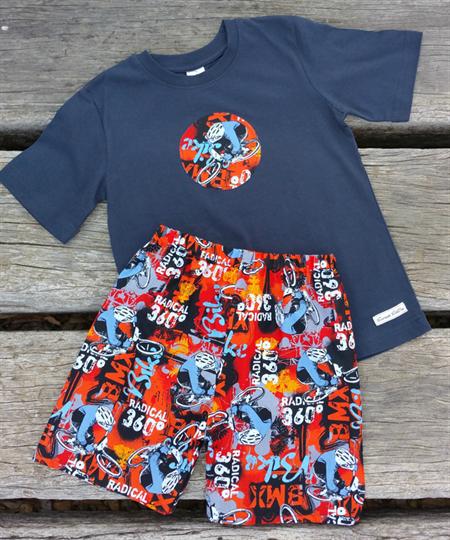 Boys BMX Bike Lounge Shorts and T-Shirt Set Size 5