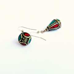Nepalese Tear Drop Turquoise Coral and Gold Earrings