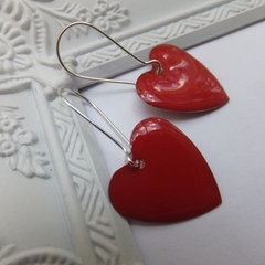 Puffy Red Heart Earrings on Tall Nickel Free Silver Hooks