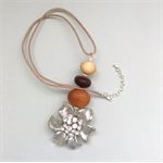 Upcycled flower brooch and wooden bead pendant necklace