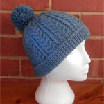 Adult Teal Blue Wool Cable Beanie with Pompom
