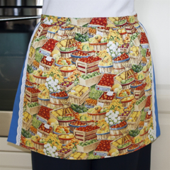 SALE - Half Apron - Farm Harvest Festival - lined cotton apron