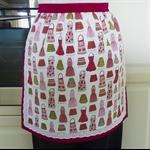 Half Apron Retro 50's Ladies apron - Kiss the Cook lined apron - 50's aprons