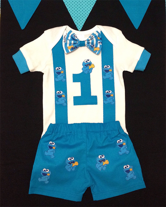Baby Cookie Monster Birthday Outfit Cake Smash Something