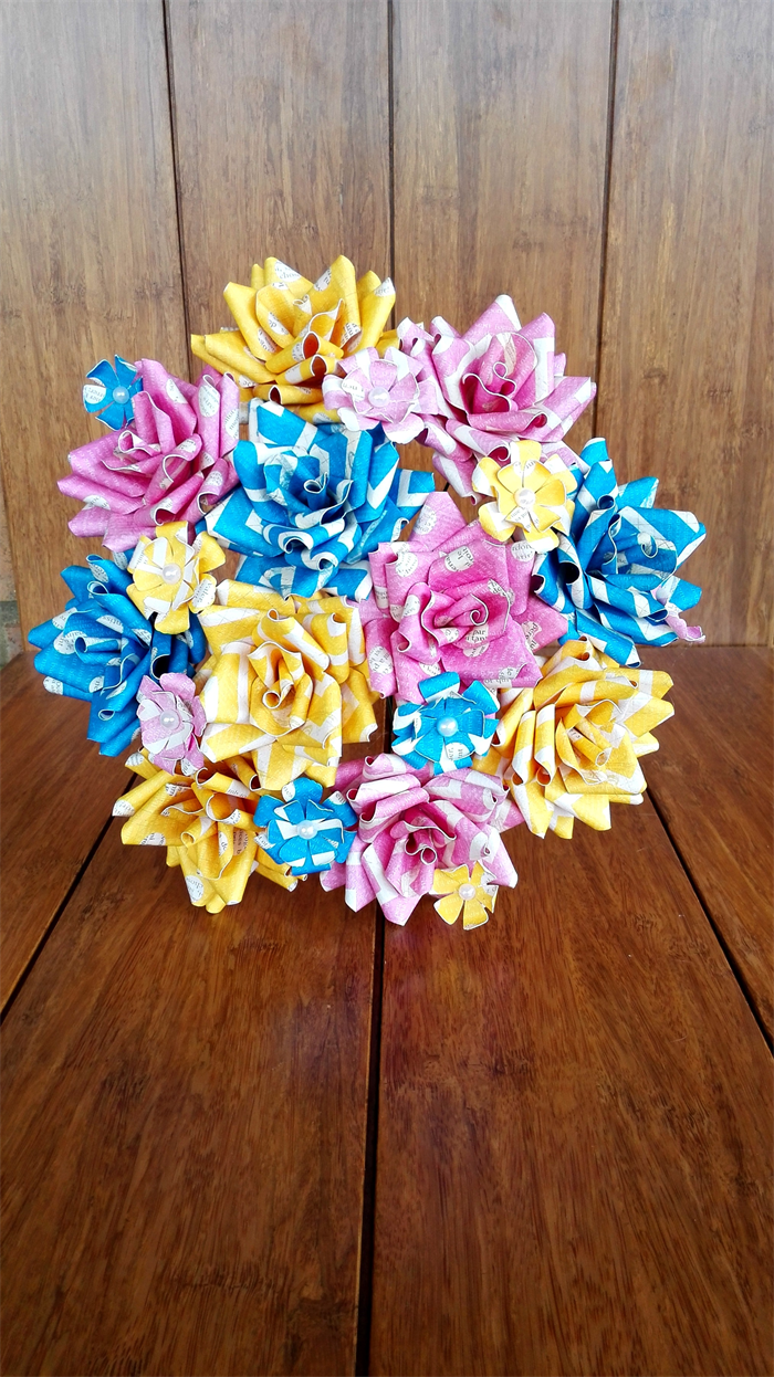Paper Flower Bouquet Pink Blue And Yellow Iridescentangel