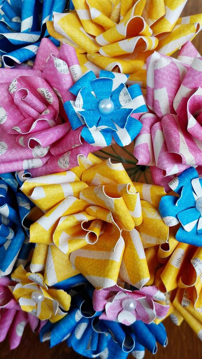 Paper Flower Bouquet Pink Blue And Yellow Iridescentangel
