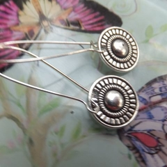 Antique Tibetan Silver Flower Pendant Earrings