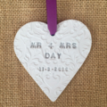 CLAY PERSONALISED VALENTINES DAY WEDDING DECORATIONS BABY CHILD  GIFT  CHEVRON