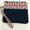 Denim and red, white and blue apple print wristlet with polka dot lining