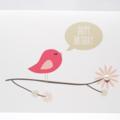 Birthday Card Female - Pink Bird on Branch - HBF143
