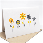 Blank Card - Yellow and Grey Flowers - BLA040