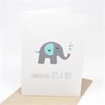 Baby Boy Card - Grey and Blue Elephant with Hearts - BBYBOY038