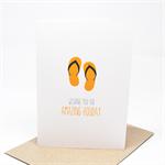 Bon Voyage Card Orange Flipflops Thongs Holidays - BON012
