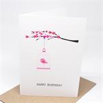 Birthday Card Female - Pink Cherry Blossom Branch with Birdcage - HBF147