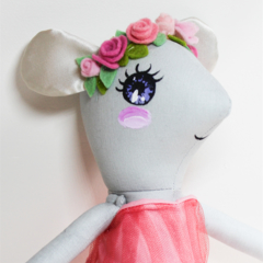 Flower crown mouse soft toy  doll